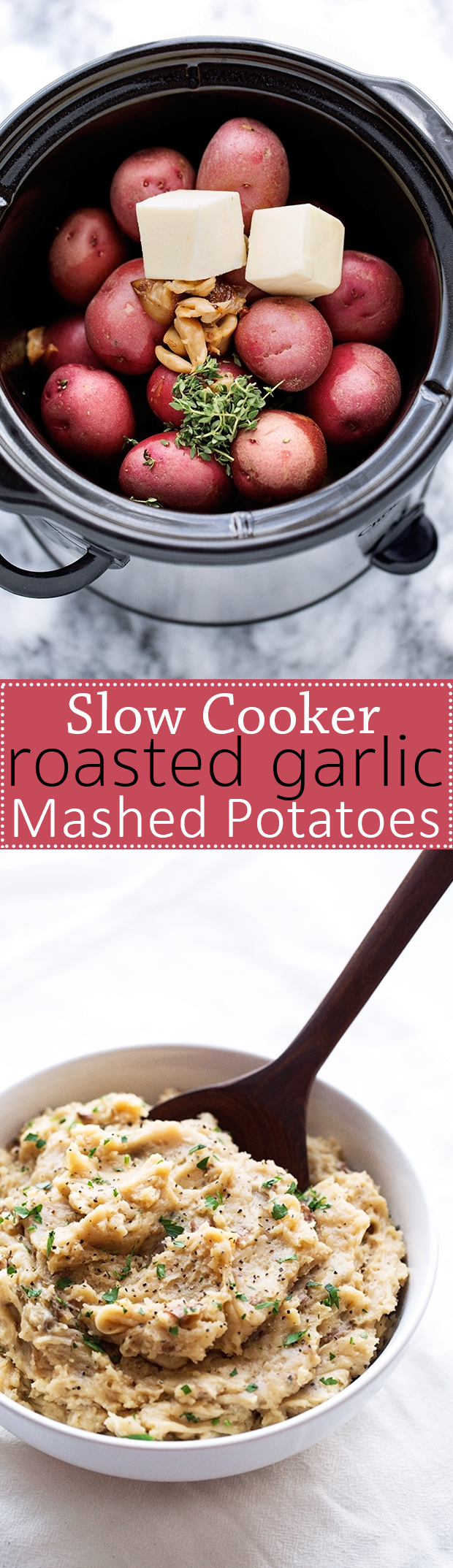 Roasted Garlic Mashed Potatoes - Learn how to make roasted garlic mashed potatoes in the slow cooker! Perfect for Thanksgiving! #slowcooker #mashedpotatoes #crockpot #roastedgarlic   Littlespicejar.com