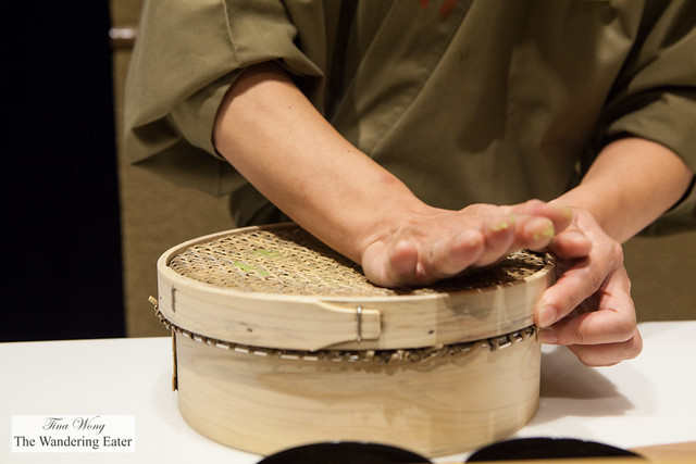 "Chef making the ""grass"" covering of the namagashi"