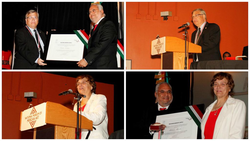 """Consulado General de México en Chicago entrega """"Ohtli"""" a Carlos Tortolero y Melanie Maczka"""