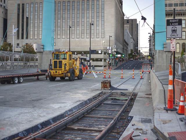 Last weld on the streetcar track
