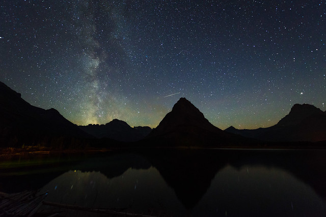 Mt Grinnell, the Milky Way, and a Shooting Star over Swiftcurrent Lake in Glacier National Park