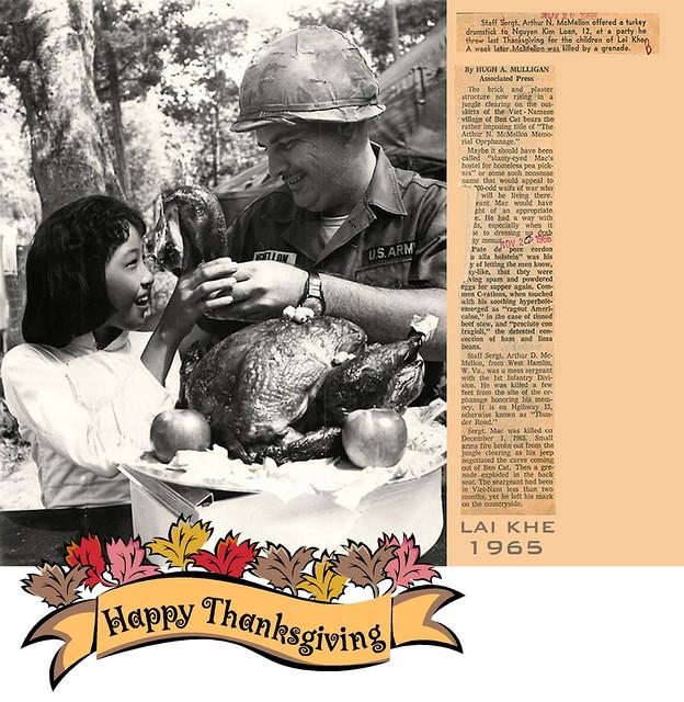 Lai Khe 1965 - 1st Inf Soldier Shares Thanksgiving Turkey with Vietnamese Girl -  Lễ Tạ Ơn năm 1965 tại Lai Khê cho trẻ em Việt