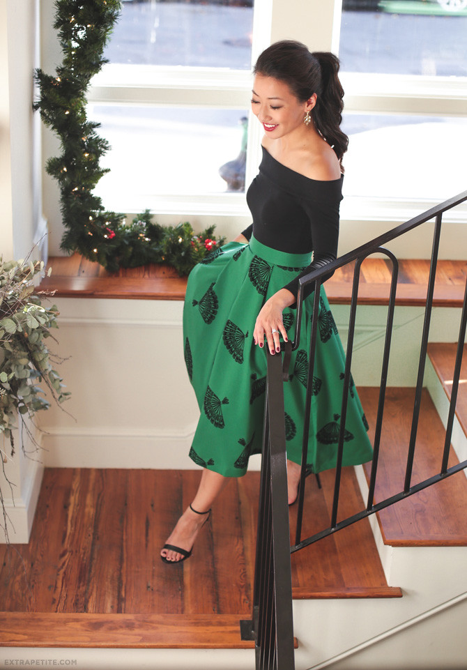 modcloth b jones pine skirt holiday outfit