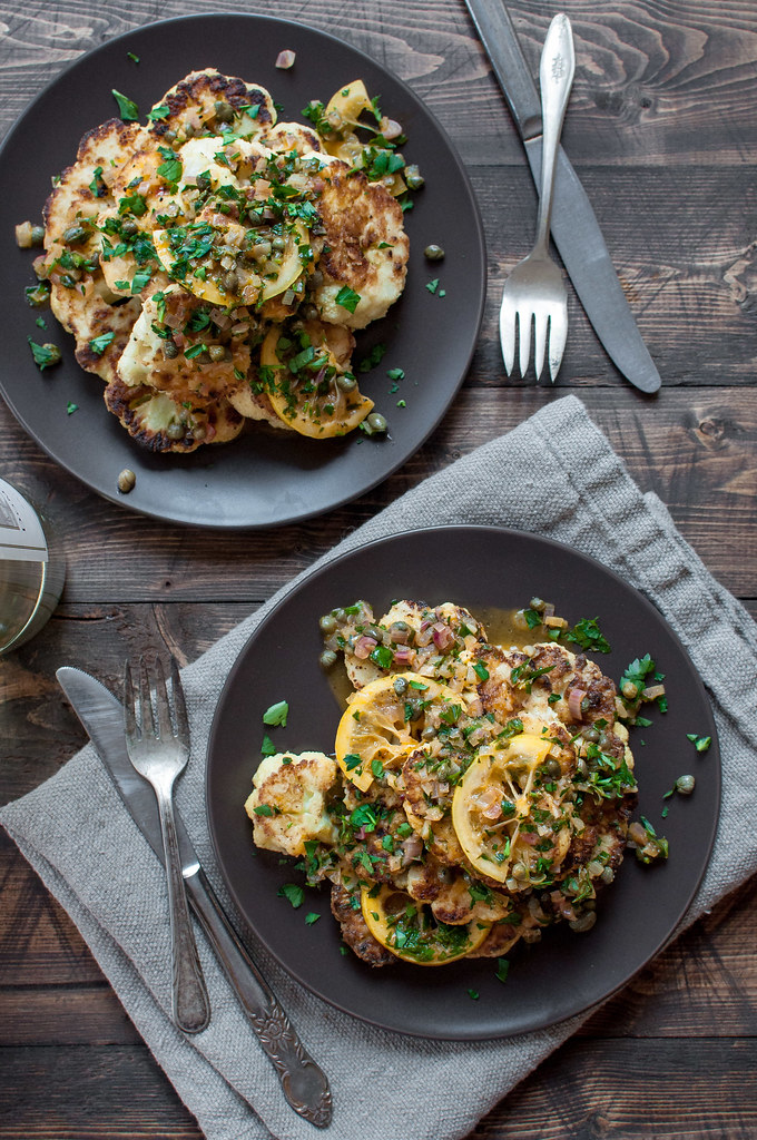 Cauliflower piccata that's healthier and just as simple as the chicken version (easy GF option, too!)