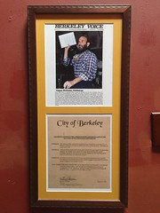 Plaque given to David by the City of Berkeley.