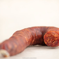 Chorizo (Spanish) or chouriço (Portuguese)