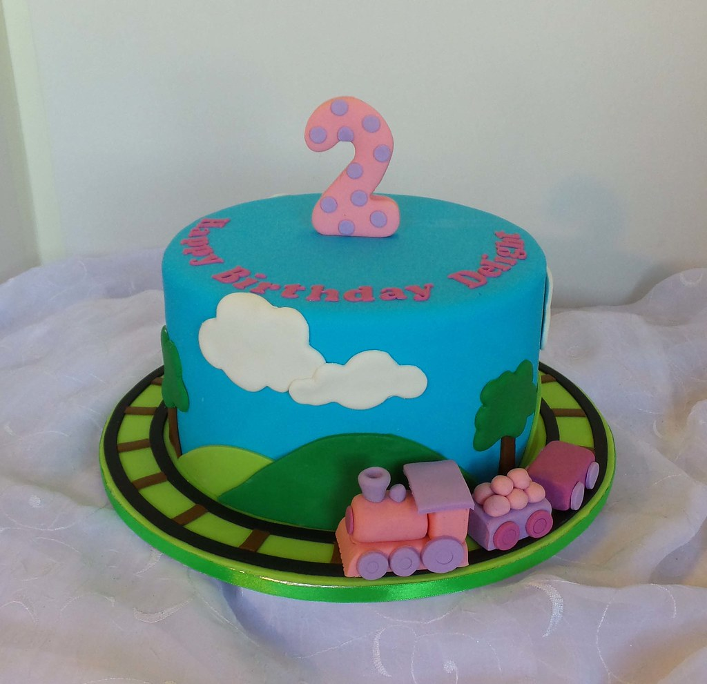 Train Themed 2 Year Birthday Cake
