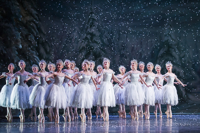 Dancers of The Royal Ballet a snowflakes in The Nutcracker, The Royal Ballet © 2015 ROH. Photograph by Tristram Kenton