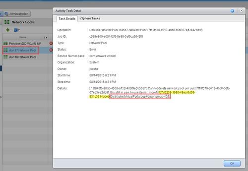 vCloud Director Error Cannot delete network pool » boche net