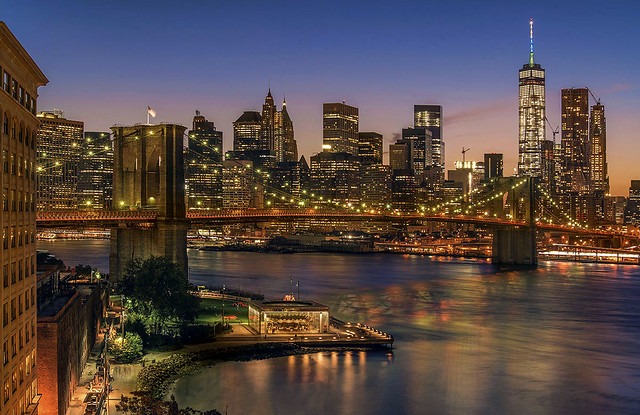 The Brooklyn Bridge and Downtown Manhattan, New York City, USA.
