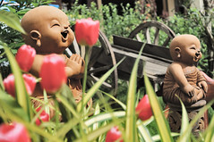 Statues and flowers, Chiang Mai, Thailand