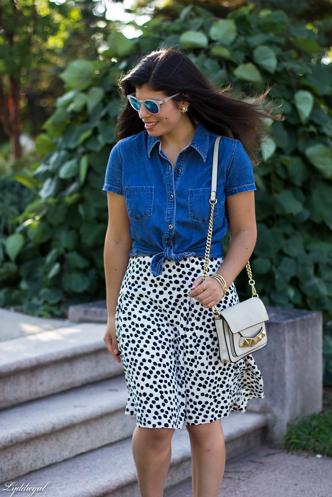 knotted chambray shirt, dalmatian print skirt, linea pelle bag-4.jpg