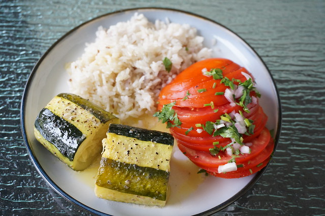 Summer on a plate: Simple baked zucchini à la française, Germaine's tomato salad, and some rice