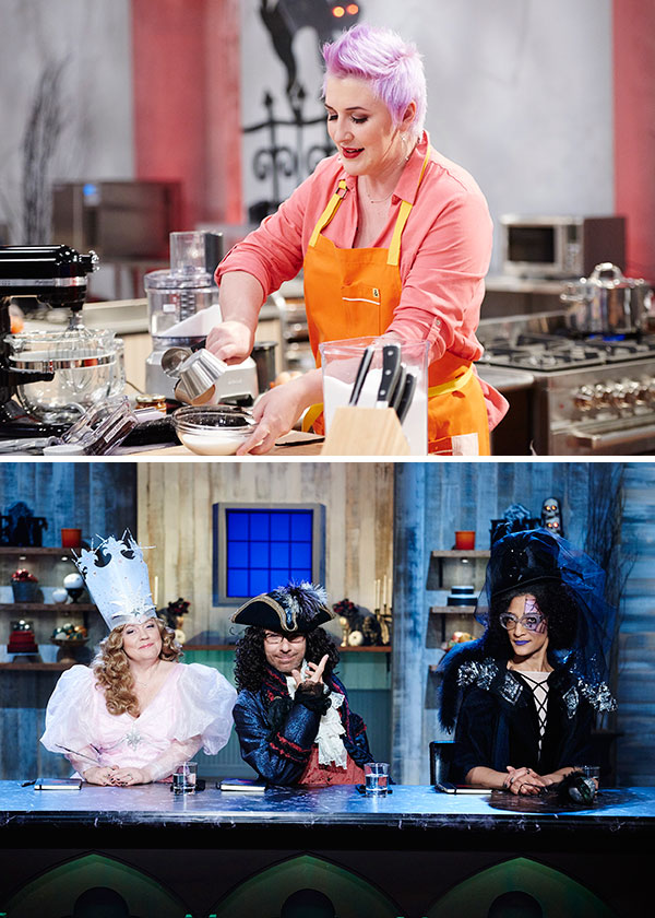 Ashlee Marie Prisbrey on Halloween Baking Championship with Sherry Yard, Ron Ben-Israel, Carla Hall and host Richard Blais