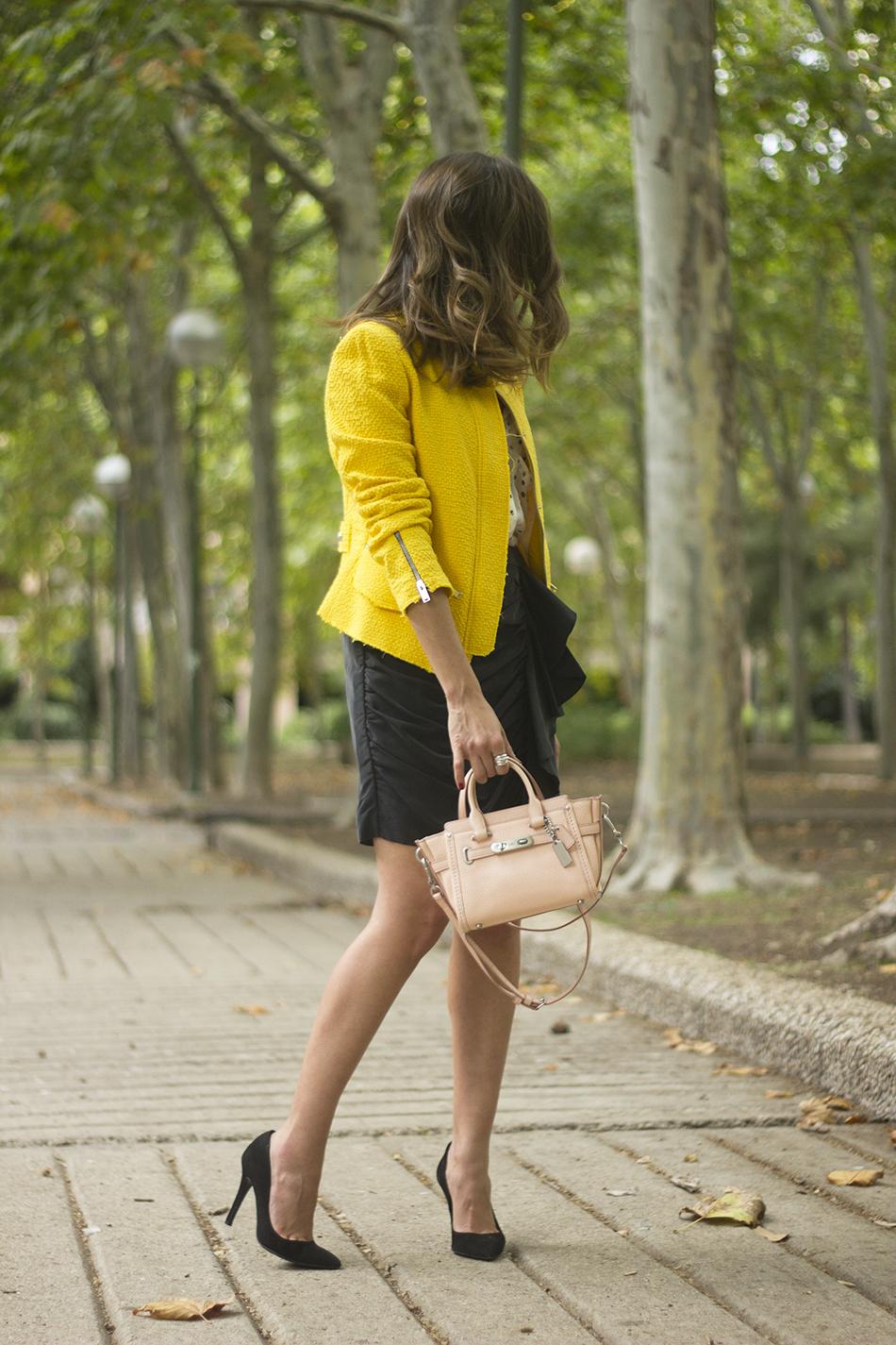 Yellow Jacket Draped Grey Skirt Outfit12