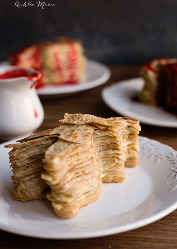 layers of cinnamon crepes, vanilla bean pastry cream and short bread cookies are the perfect mummified treat for halloween, full video tutorial
