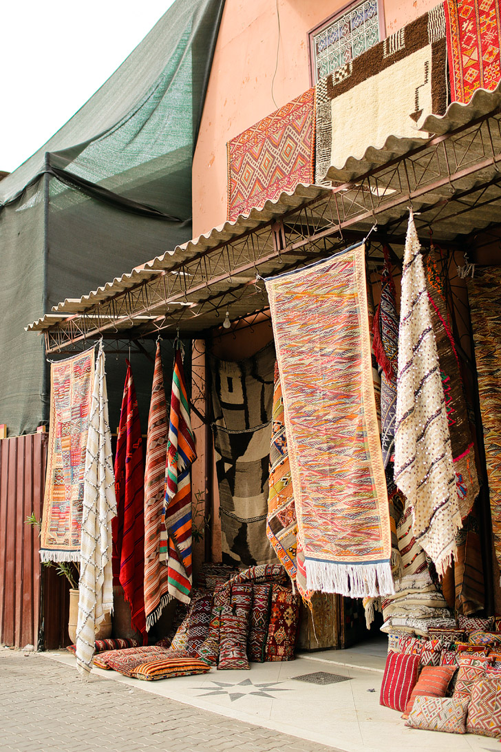 Moroccan Carpets at Place Jemaa el Fna Marrakech Morocco.