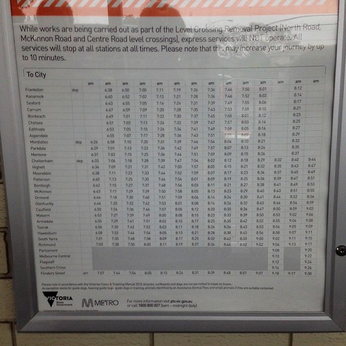 Incorrect Frankston line works timetable seen at Mckinnon Station