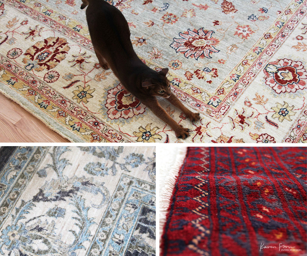 cat relaxing on a persian rug