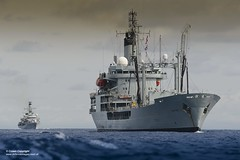 Picture is RFA GOLD ROVER with HMS LANCASTER in the background, together on Atlantic Patrol Task (South) duties.
