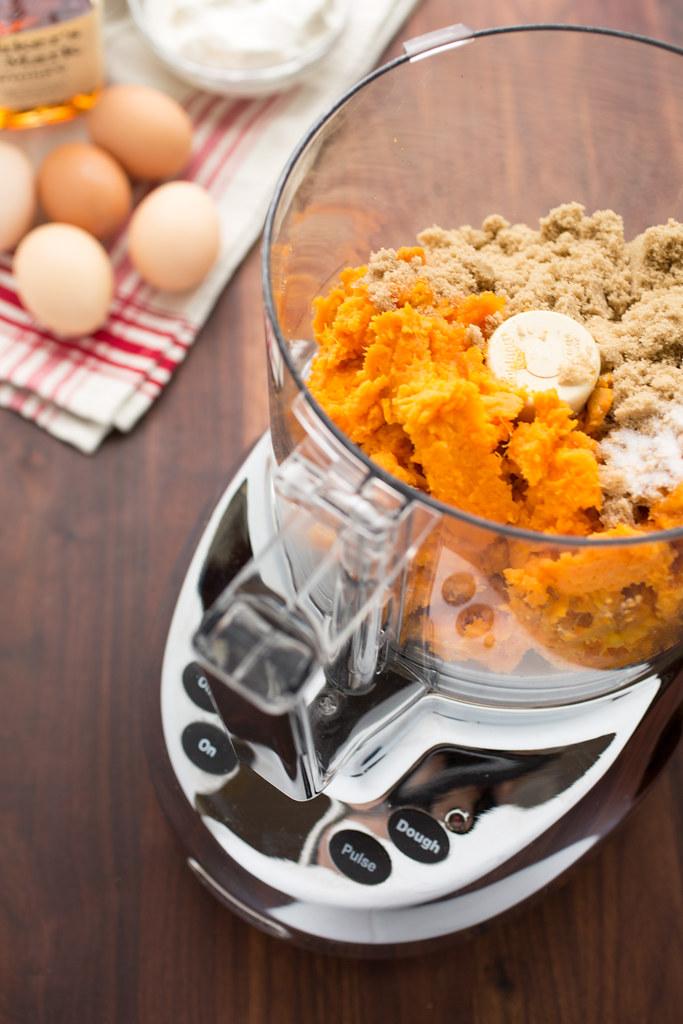sweet potatoes and brown sugar in food processor
