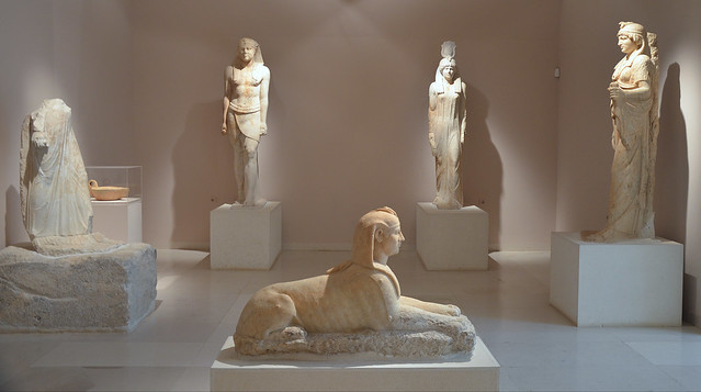 Sculptures from the Egyptian Gods Sanctuary built by Herodes Atticus, Archaeological Museum of Marathon, Greece