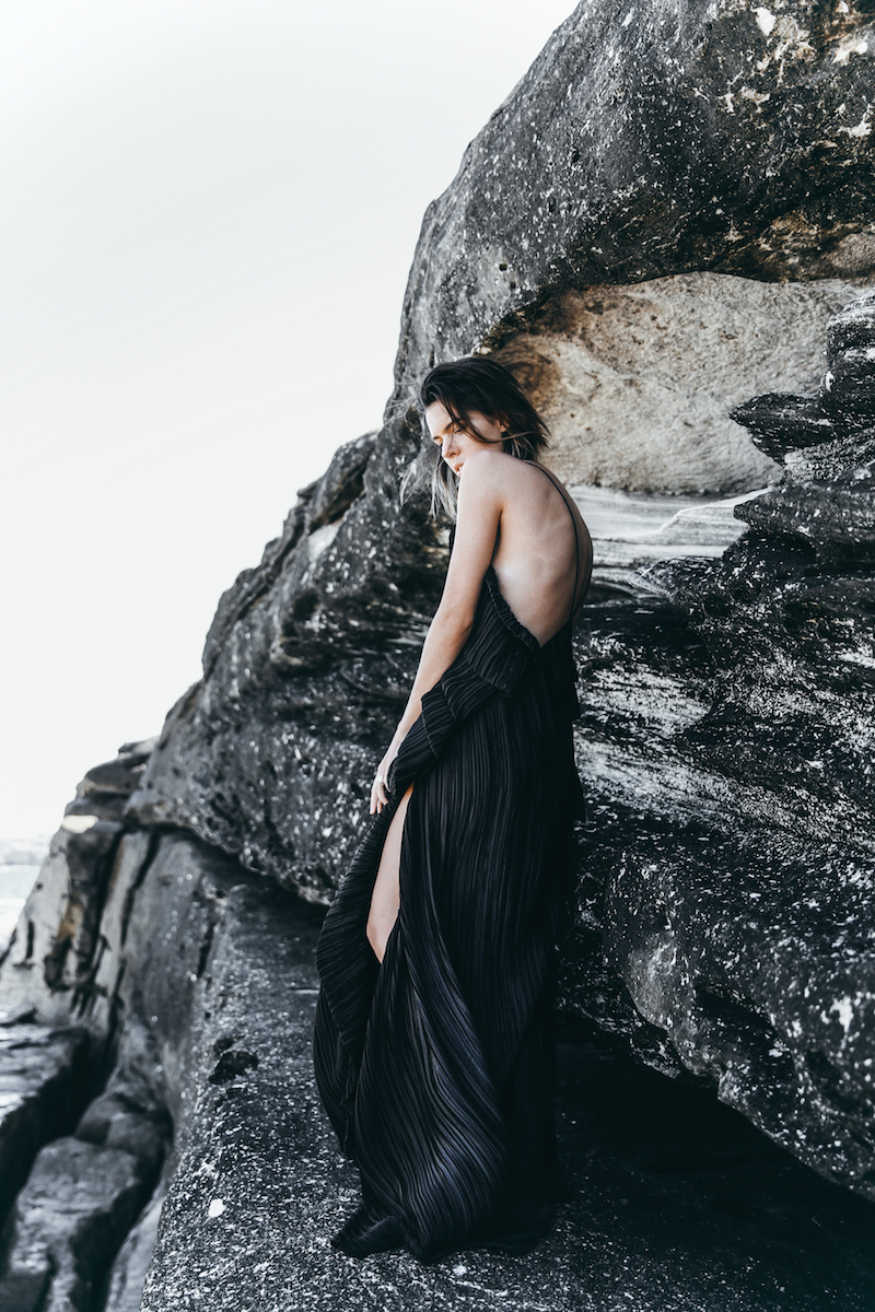 editorial new years eve all black outfit inspo Michael Lo Sordo gown beach modern legacy (2 of 10)
