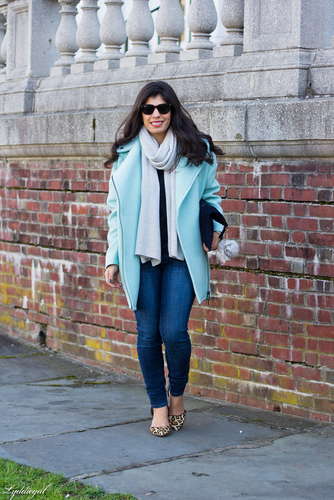 mint cocoon coat, grey scarf, leopard pumps.jpg