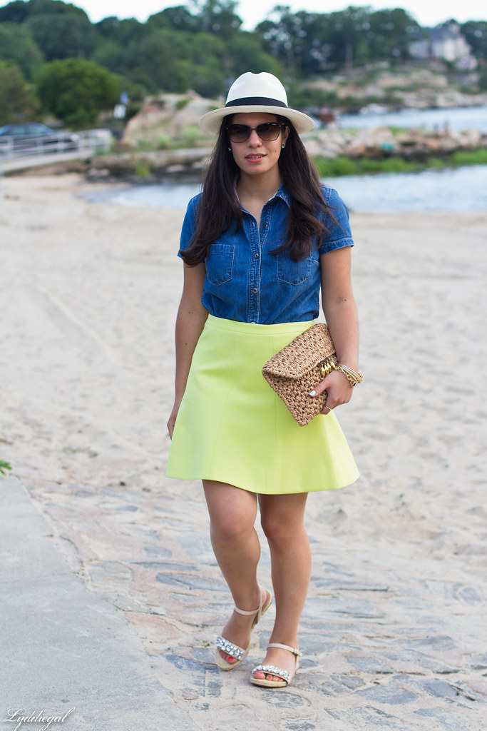 chambray shirt, neon skirt, panama hat.jpg