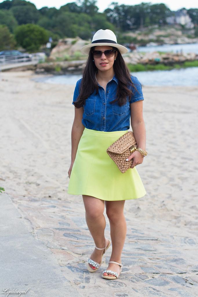 chambray shirt, neon skirt, panama hat.jpg