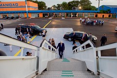 U.S. Secretary of State John Kerry climbs the steps to his Air Force jet at Jose Marti International Airport in Havana, Cuba, on August 14, 2015, after becoming the first person in his job to visit the island nation in 70 years. [State Department photo/ Public Domain]