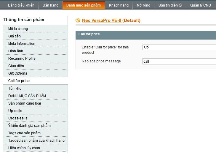 tạo call for price trong magento