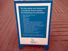 Drones, vaping prohibited, sign, Annenber Beach House, Santa Monica, California, USA