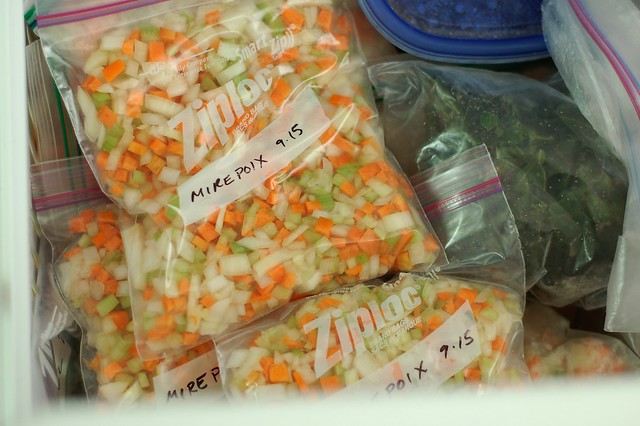 Quart bags of mirepoix in the freezer by Eve Fox, the Garden of Eating, copyright 2015