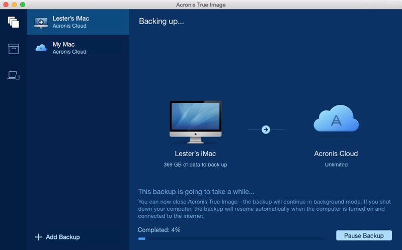 Acronis True Image Cloud - Backing Up