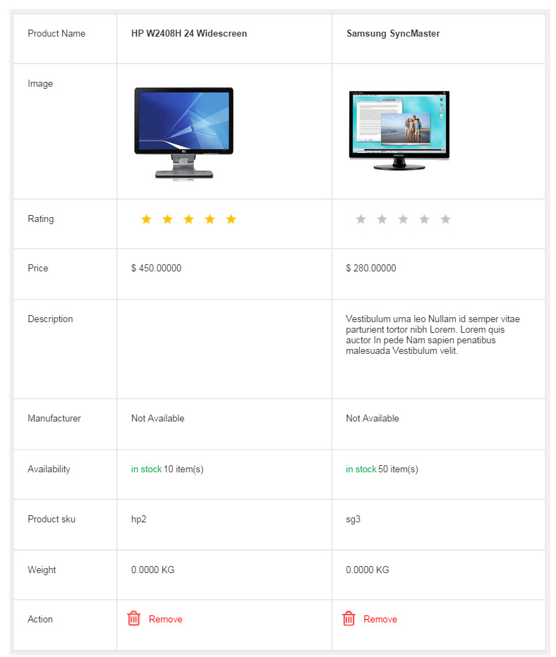 Product Compare For Virtuemart