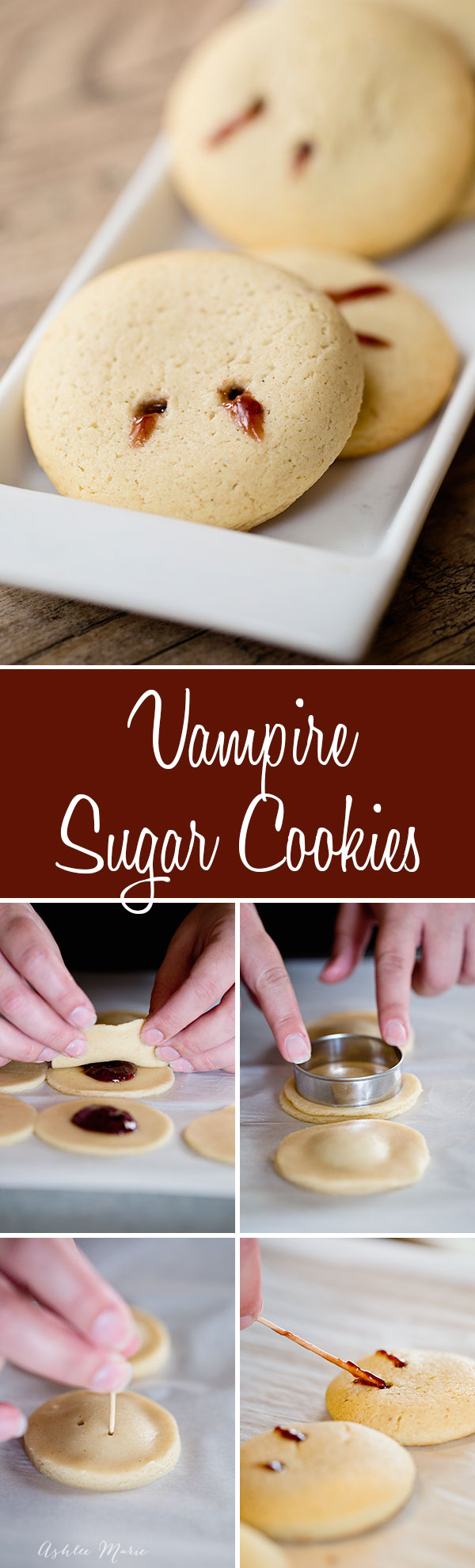 an easy and simple halloween treat, these jelly filled vampire bite sugar cookies are easy, fun and delicious