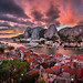 Aerial View of Omis and Cetina River at Dramatic Sunset, Dalmatia, Croatia by ansharphoto