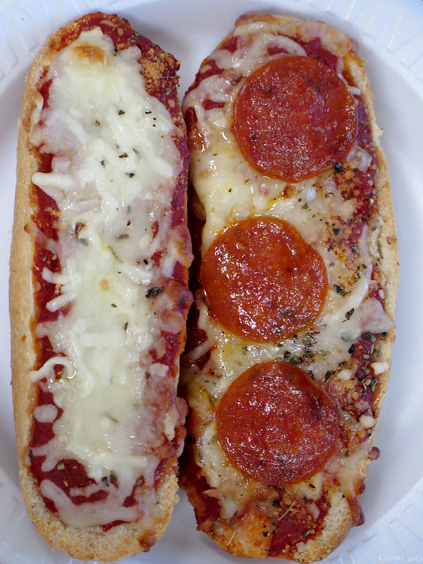 Cheese and pepperoni French bread pizzas
