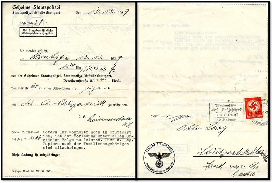 Nazi Germany deportation letter, 1937