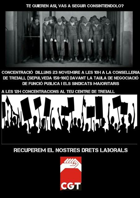 Concentració a Conselleria de Treball a Barcelona per la devolució de la paga extra a treballadors de la Funció Pública i ens depenents de la Generalitat, el 23 de novembre