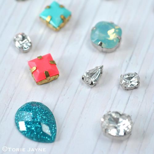 Plastic gem stones