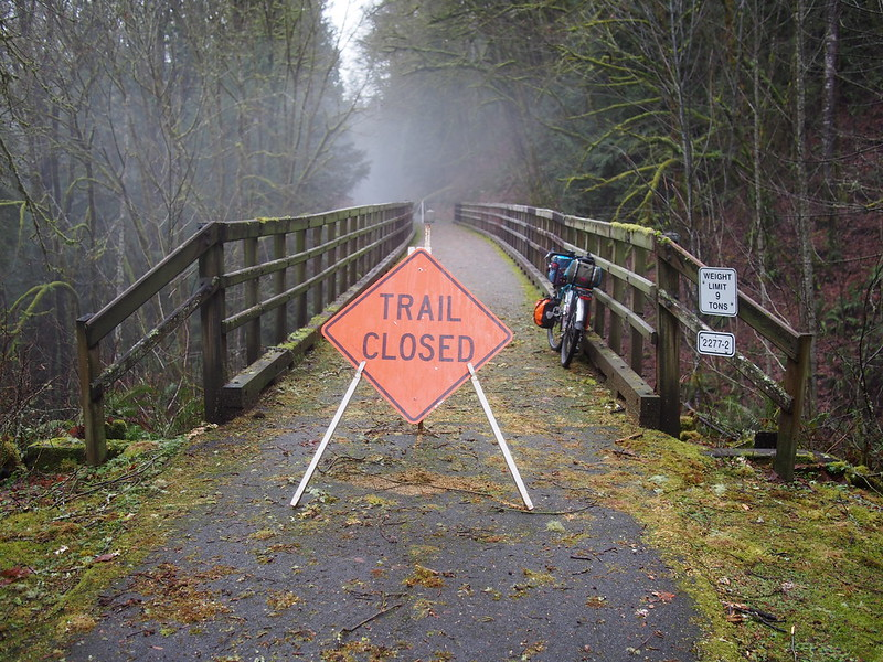 Preston–Snoqualmie Trail Bridge Closure: Recent floods have caused some of the bents of this trestle to be washed out.