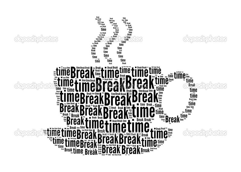time break text on coffee graphic and arrangement concept