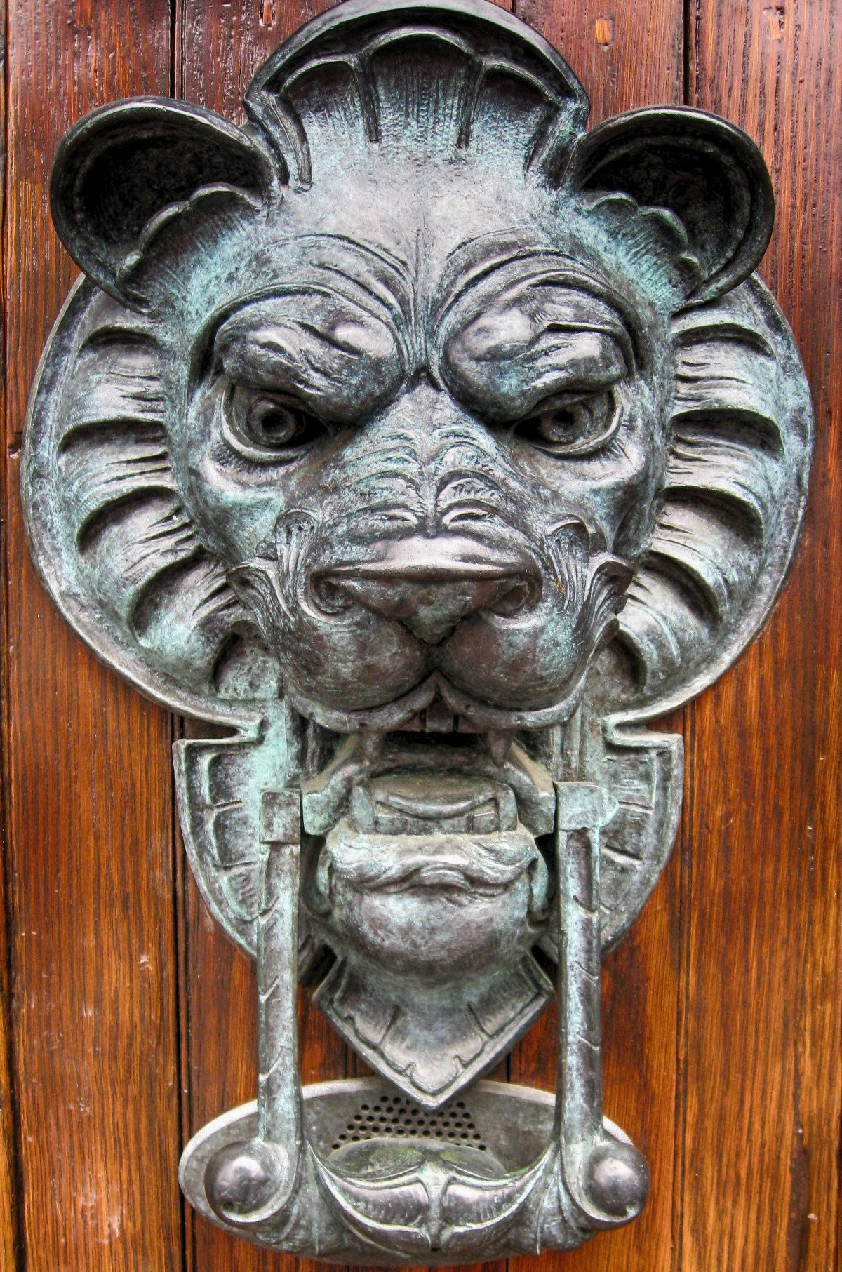 Lion's head door knocker in Beacon Hill, Boston