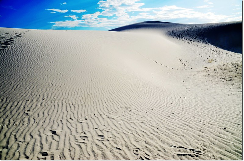 View of white sand dune with ripples in White Sands National Monument 1