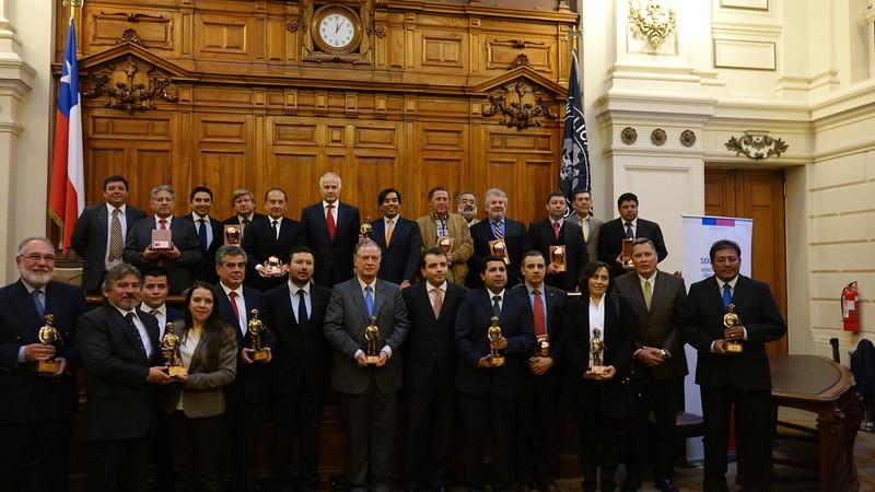 Galardonados con el Premio de Seguridad Minera del Sernageomin (25 de agosto de 2015)