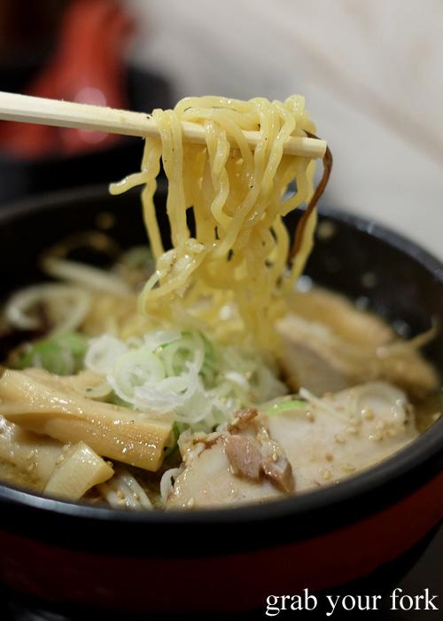 Yoshiyama Shouten slight crinkly ramen noodles at Sapporo Ramen Kyowakoku or Sapporo Ramen Alley, Hokkaido