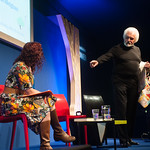 Ronnie Browne speaks to chair Nicola Meighan | Ronnie Browne speaks to chair Nicola Meighan at the Book Festival © Alan McCredie