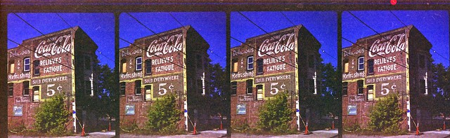 Coca-Cola sign shot with Nimslo camera